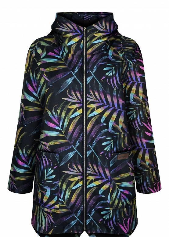 jesienna parka w kolorowe palmy, płaszcz przeciwdeszczowy, ocieplany, kurtka zimowa